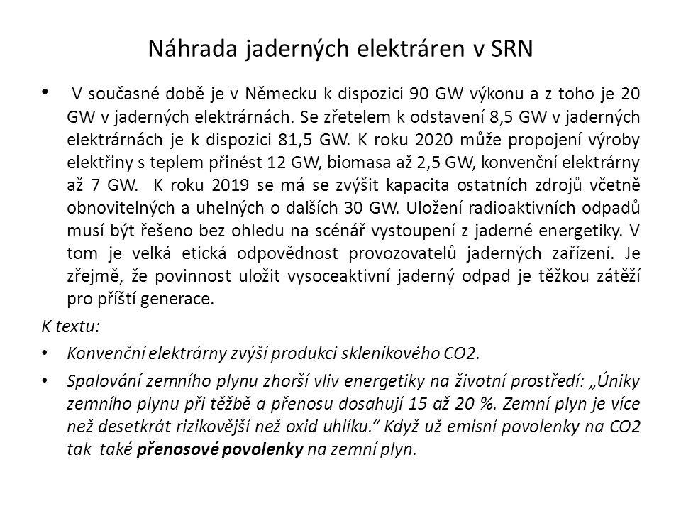 Náhrada jaderných elektráren v SRN V současné době je v Německu k dispozici 90 GW výkonu a z toho je 20 GW v jaderných elektrárnách. Se zřetelem k ods