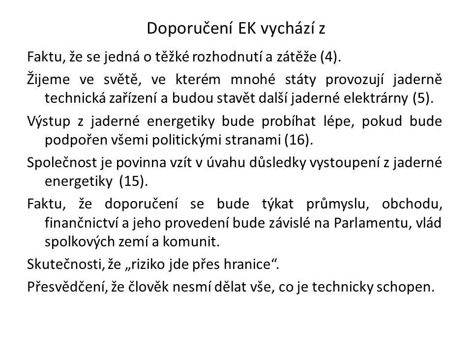 Doporučení EK vychází z Faktu, že se jedná o těžké rozhodnutí a zátěže (4). Žijeme ve světě, ve kterém mnohé státy provozují jaderně technická zařízen