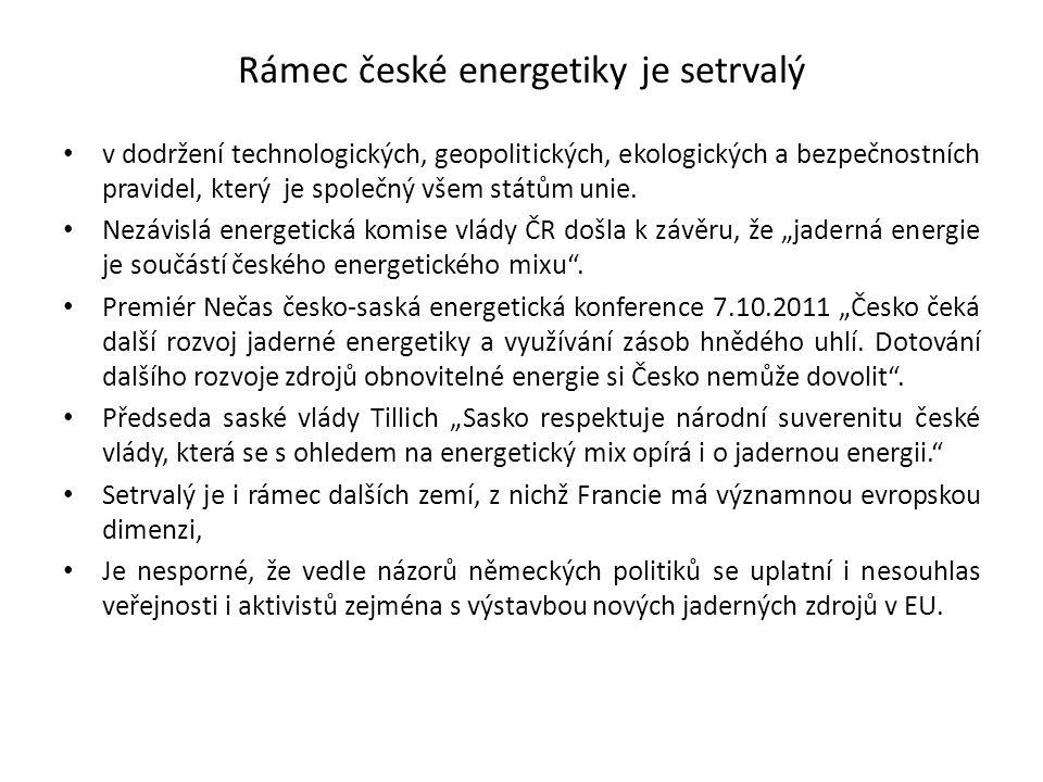 Rámec české energetiky je setrvalý v dodržení technologických, geopolitických, ekologických a bezpečnostních pravidel, který je společný všem státům u