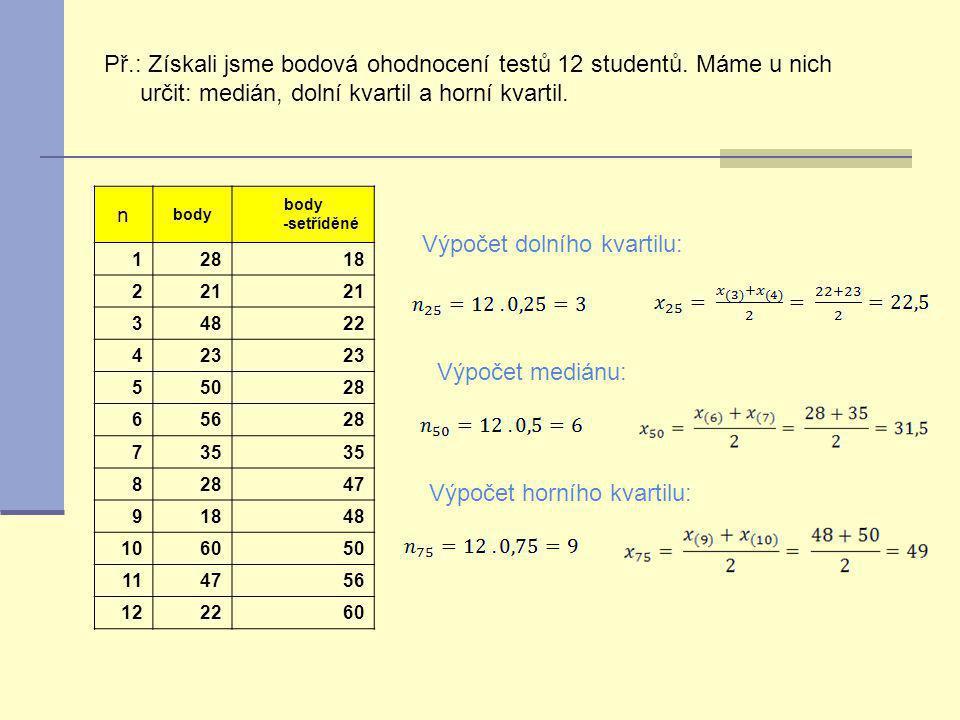 Př.: Získali jsme bodová ohodnocení testů 12 studentů. Máme u nich určit: medián, dolní kvartil a horní kvartil. n body body -setříděné 12818 221 3482