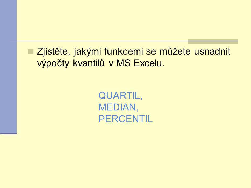 Zjistěte, jakými funkcemi se můžete usnadnit výpočty kvantilů v MS Excelu. QUARTIL, MEDIAN, PERCENTIL