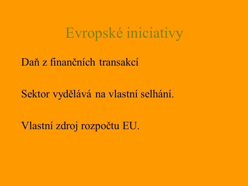Evropské iniciativy Daň z finančních transakcí Sektor vydělává na vlastní selhání. Vlastní zdroj rozpočtu EU.