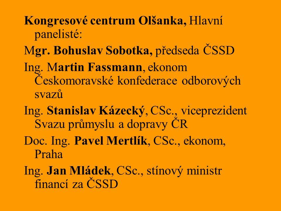 Kongresové centrum Olšanka, Hlavní panelisté: Mgr. Bohuslav Sobotka, předseda ČSSD Ing. Martin Fassmann, ekonom Českomoravské konfederace odborových s