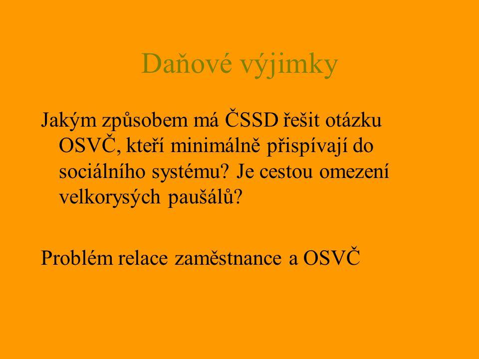 Daňové výjimky Jakým způsobem má ČSSD řešit otázku OSVČ, kteří minimálně přispívají do sociálního systému.