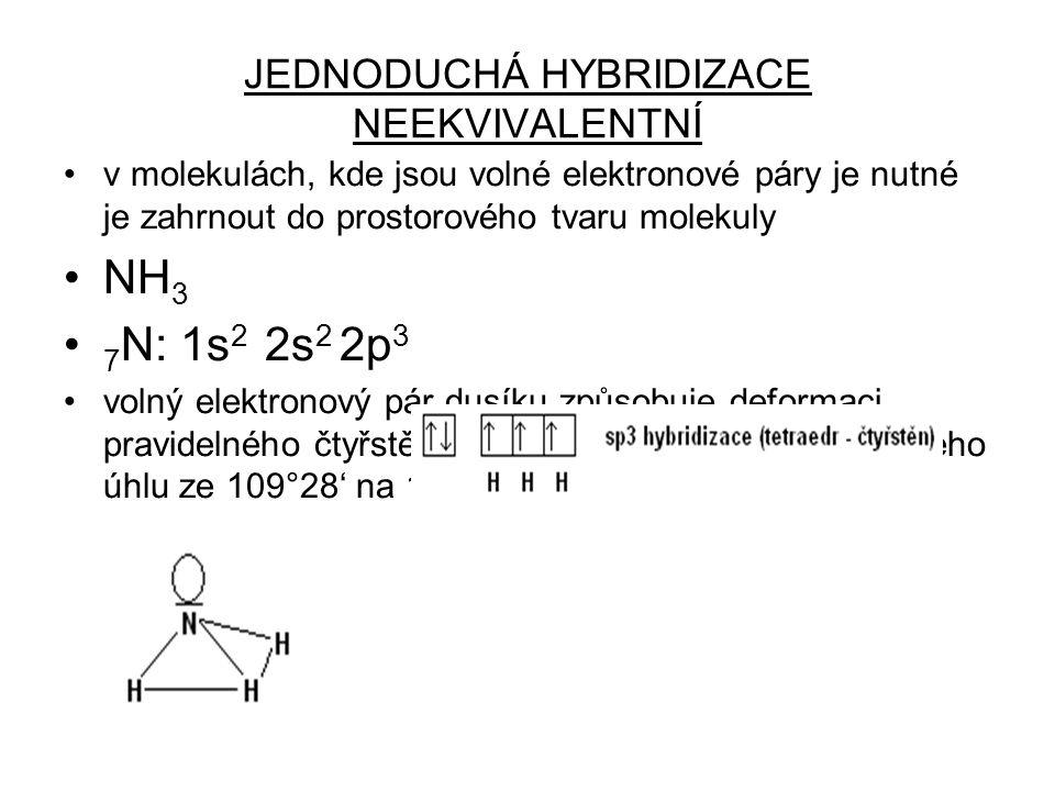 JEDNODUCHÁ HYBRIDIZACE NEEKVIVALENTNÍ v molekulách, kde jsou volné elektronové páry je nutné je zahrnout do prostorového tvaru molekuly NH 3 7 N: 1s 2