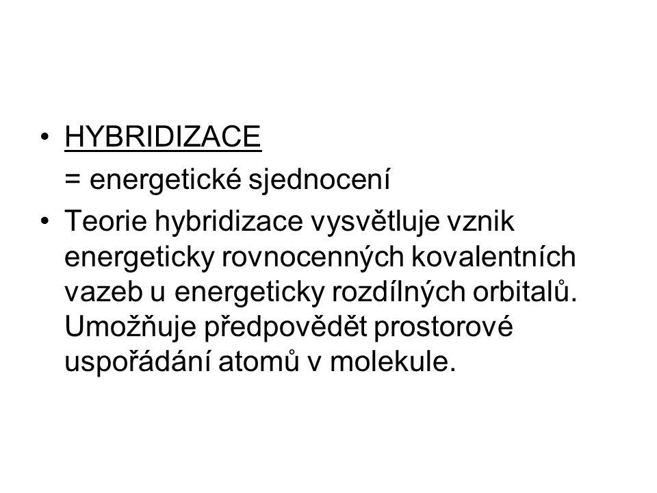 HYBRIDIZACE = energetické sjednocení Teorie hybridizace vysvětluje vznik energeticky rovnocenných kovalentních vazeb u energeticky rozdílných orbitalů