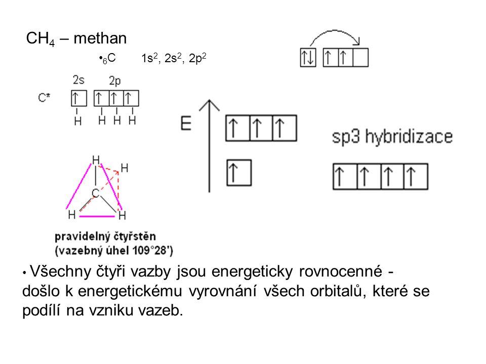 CH 4 – methan 6 C Všechny čtyři vazby jsou energeticky rovnocenné - došlo k energetickému vyrovnání všech orbitalů, které se podílí na vzniku vazeb. 1