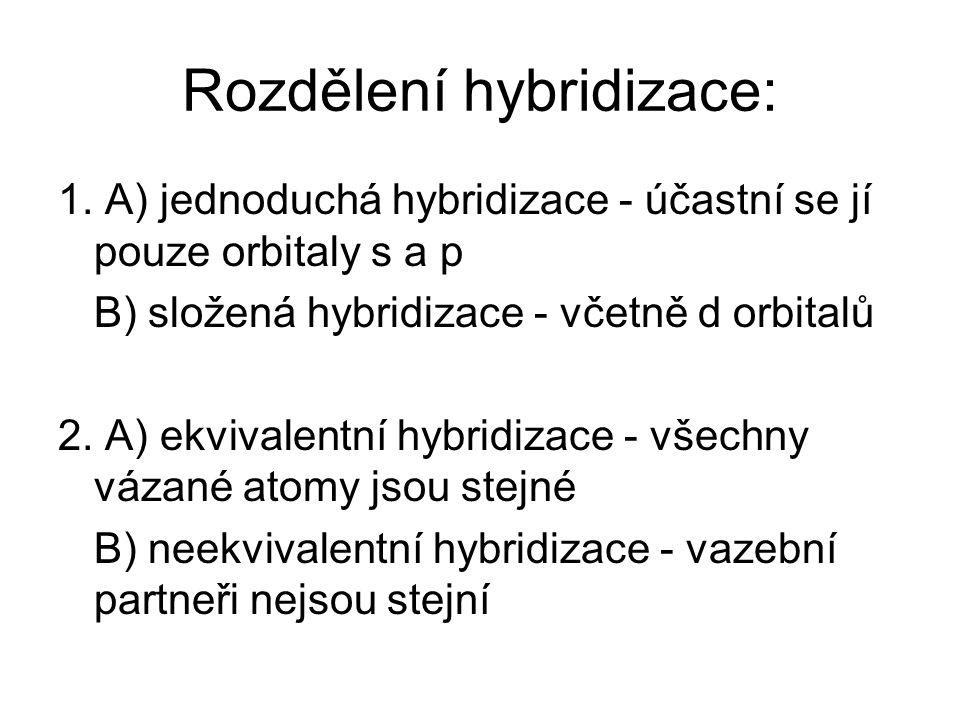 Rozdělení hybridizace: 1. A) jednoduchá hybridizace - účastní se jí pouze orbitaly s a p B) složená hybridizace - včetně d orbitalů 2. A) ekvivalentní