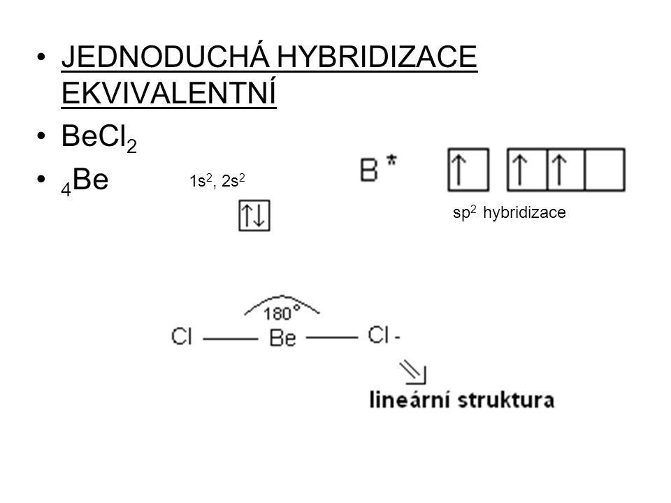 JEDNODUCHÁ HYBRIDIZACE EKVIVALENTNÍ BeCl 2 4 Be sp 2 hybridizace 1s 2, 2s 2