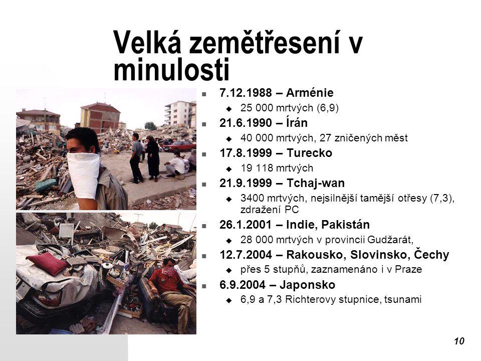 10 Velká zemětřesení v minulosti 7.12.1988 – Arménie  25 000 mrtvých (6,9) 21.6.1990 – Írán  40 000 mrtvých, 27 zničených měst 17.8.1999 – Turecko  19 118 mrtvých 21.9.1999 – Tchaj-wan  3400 mrtvých, nejsilnější tamější otřesy (7,3), zdražení PC 26.1.2001 – Indie, Pakistán  28 000 mrtvých v provincii Gudžarát, 12.7.2004 – Rakousko, Slovinsko, Čechy  přes 5 stupňů, zaznamenáno i v Praze 6.9.2004 – Japonsko  6,9 a 7,3 Richterovy stupnice, tsunami