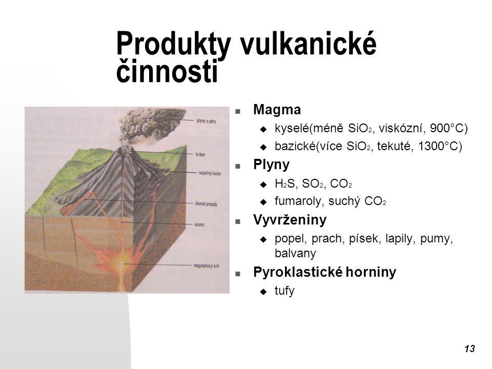 13 Produkty vulkanické činnosti Magma  kyselé(méně SiO 2, viskózní, 900°C)  bazické(více SiO 2, tekuté, 1300°C) Plyny  H 2 S, SO 2, CO 2  fumaroly, suchý CO 2 Vyvrženiny  popel, prach, písek, lapily, pumy, balvany Pyroklastické horniny  tufy