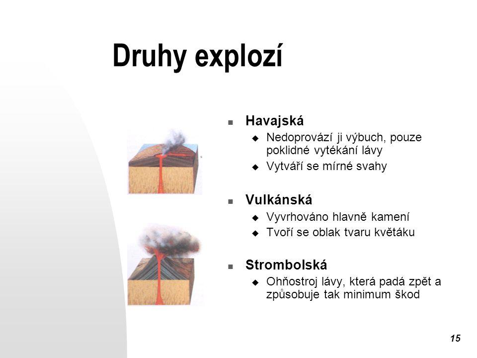 15 Druhy explozí Havajská  Nedoprovází ji výbuch, pouze poklidné vytékání lávy  Vytváří se mírné svahy Vulkánská  Vyvrhováno hlavně kamení  Tvoří se oblak tvaru květáku Strombolská  Ohňostroj lávy, která padá zpět a způsobuje tak minimum škod