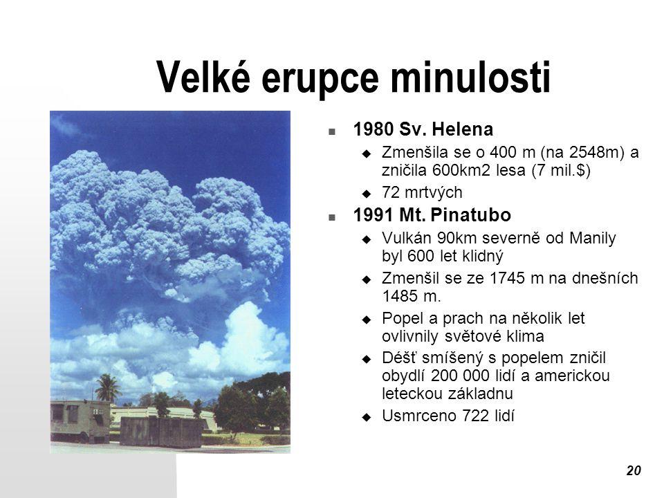 20 Velké erupce minulosti 1980 Sv. Helena  Zmenšila se o 400 m (na 2548m) a zničila 600km2 lesa (7 mil.$)  72 mrtvých 1991 Mt. Pinatubo  Vulkán 90k
