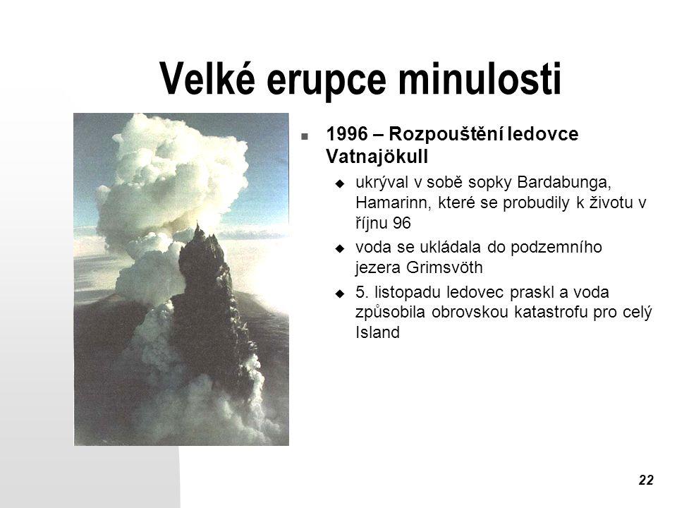22 Velké erupce minulosti 1996 – Rozpouštění ledovce Vatnajökull  ukrýval v sobě sopky Bardabunga, Hamarinn, které se probudily k životu v říjnu 96  voda se ukládala do podzemního jezera Grimsvöth  5.