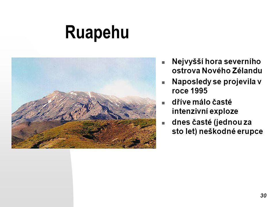 30 Ruapehu Nejvyšší hora severního ostrova Nového Zélandu Naposledy se projevila v roce 1995 dříve málo časté intenzivní exploze dnes časté (jednou za sto let) neškodné erupce