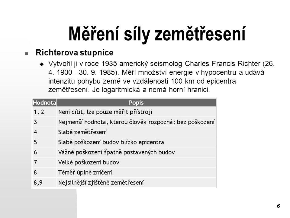 6 Měření síly zemětřesení Richterova stupnice  Vytvořil ji v roce 1935 americký seismolog Charles Francis Richter (26. 4. 1900 - 30. 9. 1985). Měří m