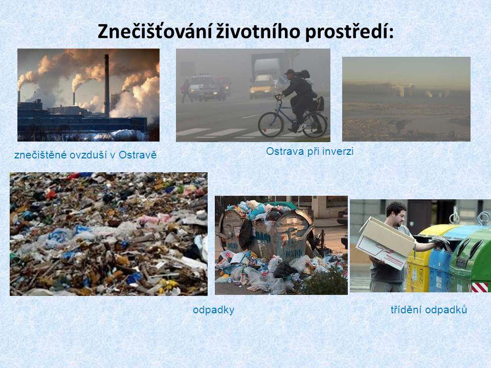 Znečišťování životního prostředí: znečištěné ovzduší v Ostravě Ostrava při inverzi odpadkytřídění odpadků
