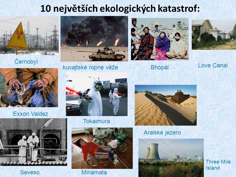 10 největších ekologických katastrof: kuvajtské ropné věže Černobyl Bhópál Love Canal Exxon Valdez Tokaimura Aralské jezero SevesoMinamata Three Mile