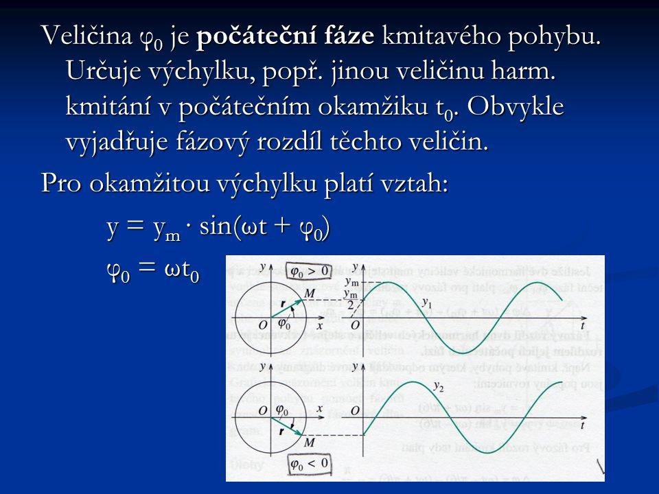 Veličina φ 0 je počáteční fáze kmitavého pohybu.Určuje výchylku, popř.