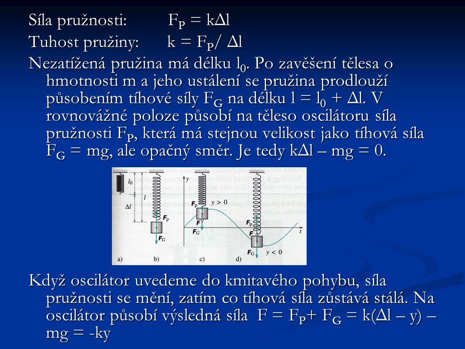 Síla pružnosti: F P = kΔl Tuhost pružiny: k = F P / Δl Nezatížená pružina má délku l 0.