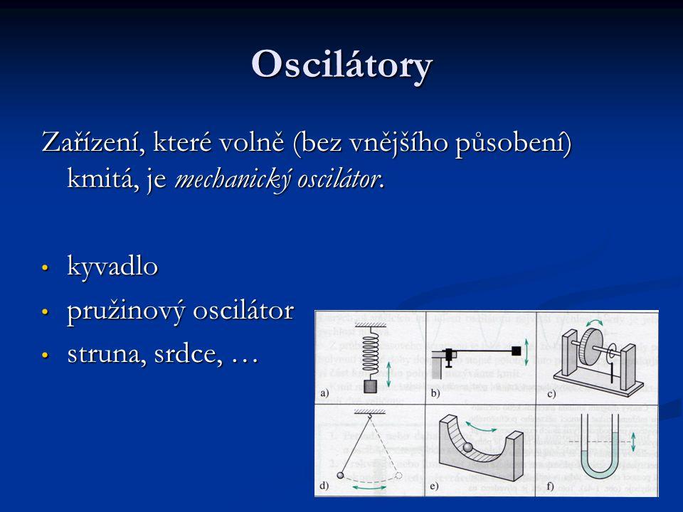 Oscilátory Zařízení, které volně (bez vnějšího působení) kmitá, je mechanický oscilátor.