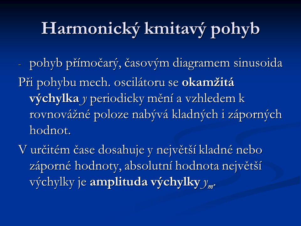 Harmonický kmitavý pohyb - pohyb přímočarý, časovým diagramem sinusoida Při pohybu mech.