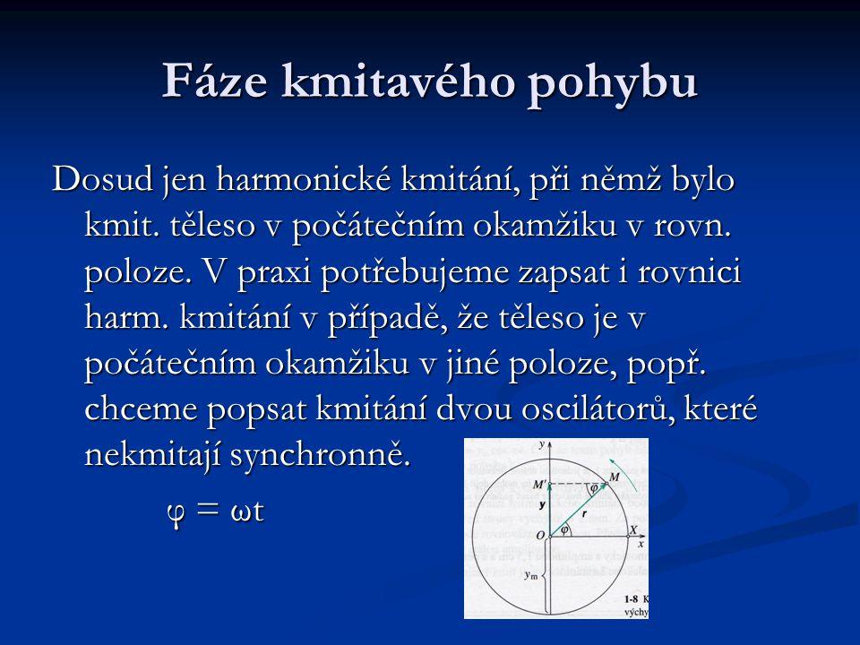 Fáze kmitavého pohybu Dosud jen harmonické kmitání, při němž bylo kmit.