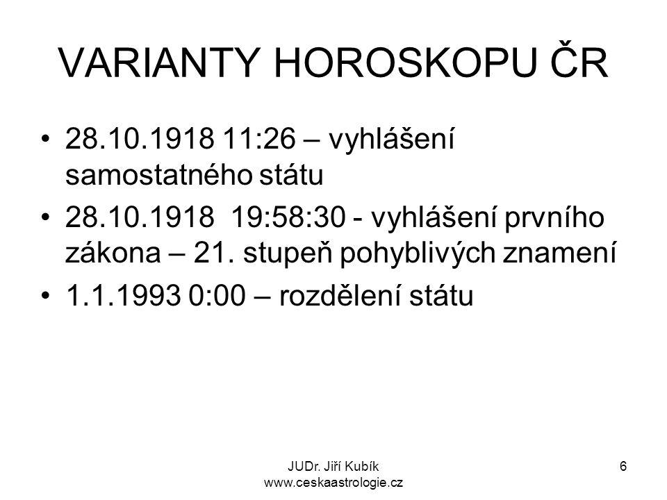 JUDr. Jiří Kubík www.ceskaastrologie.cz 6 VARIANTY HOROSKOPU ČR 28.10.1918 11:26 – vyhlášení samostatného státu 28.10.1918 19:58:30 - vyhlášení prvníh
