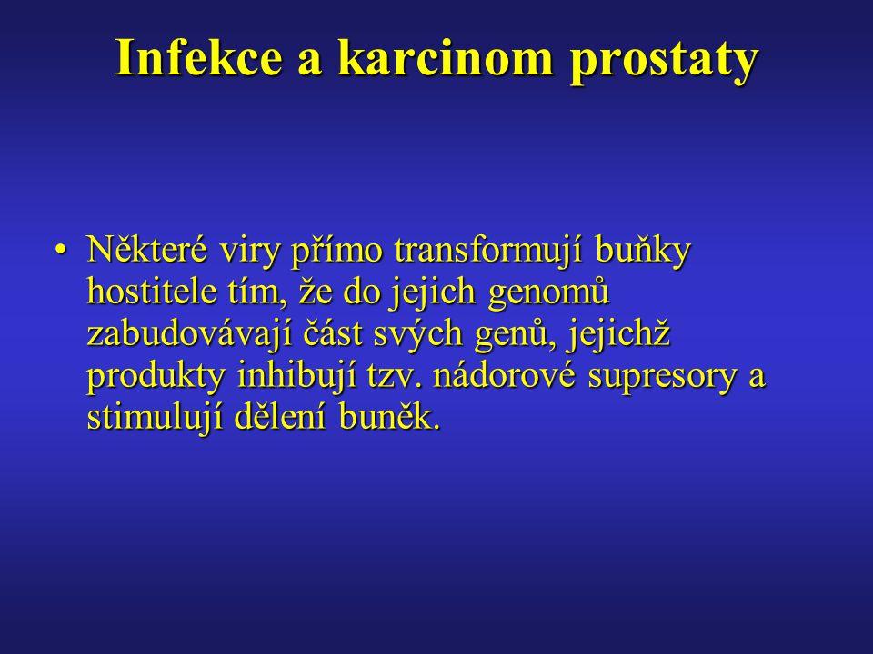 Infekce a karcinom prostaty Některé viry přímo transformují buňky hostitele tím, že do jejich genomů zabudovávají část svých genů, jejichž produkty inhibují tzv.