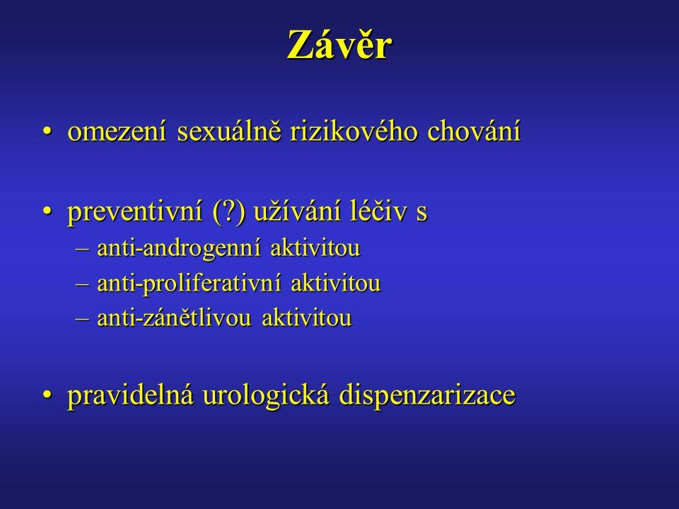 Závěr omezení sexuálně rizikového chováníomezení sexuálně rizikového chování preventivní (?) užívání léčiv spreventivní (?) užívání léčiv s –anti-androgenní aktivitou –anti-proliferativní aktivitou –anti-zánětlivou aktivitou pravidelná urologická dispenzarizacepravidelná urologická dispenzarizace