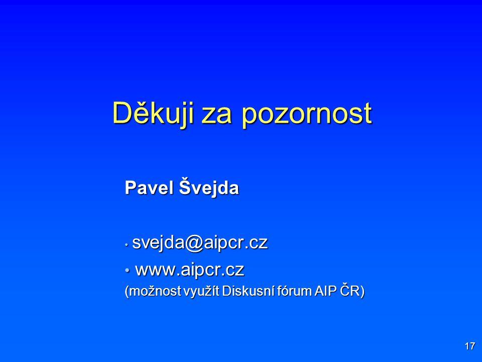 17 Děkuji za pozornost Pavel Švejda svejda@aipcr.cz svejda@aipcr.cz www.aipcr.cz www.aipcr.cz (možnost využít Diskusní fórum AIP ČR)