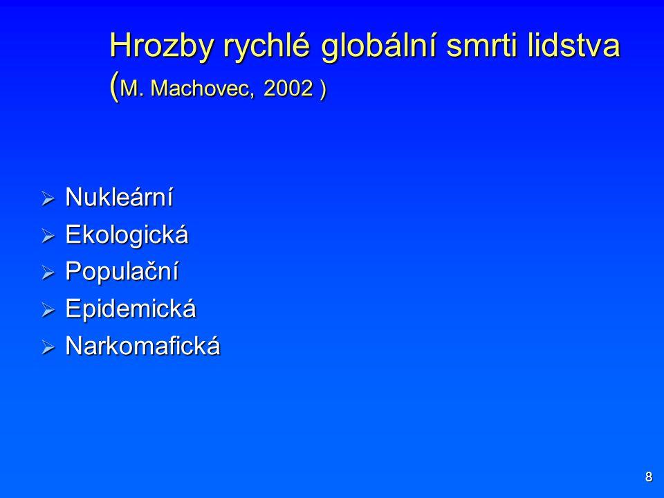 Hrozby rychlé globální smrti lidstva ( M. Machovec, 2002 )  Nukleární  Ekologická  Populační  Epidemická  Narkomafická 8