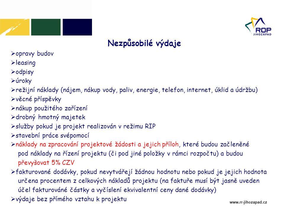 www.rr-jihozapad.cz  opravy budov  leasing  odpisy  úroky  režijní náklady (nájem, nákup vody, paliv, energie, telefon, internet, úklid a údržbu)