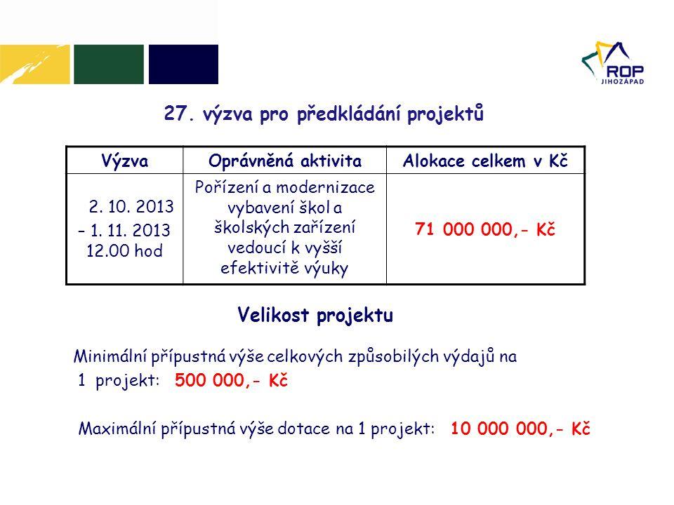 27. výzva pro předkládání projektů VýzvaOprávněná aktivitaAlokace celkem v Kč 2. 10. 2013 – 1. 11. 2013 12.00 hod Pořízení a modernizace vybavení škol