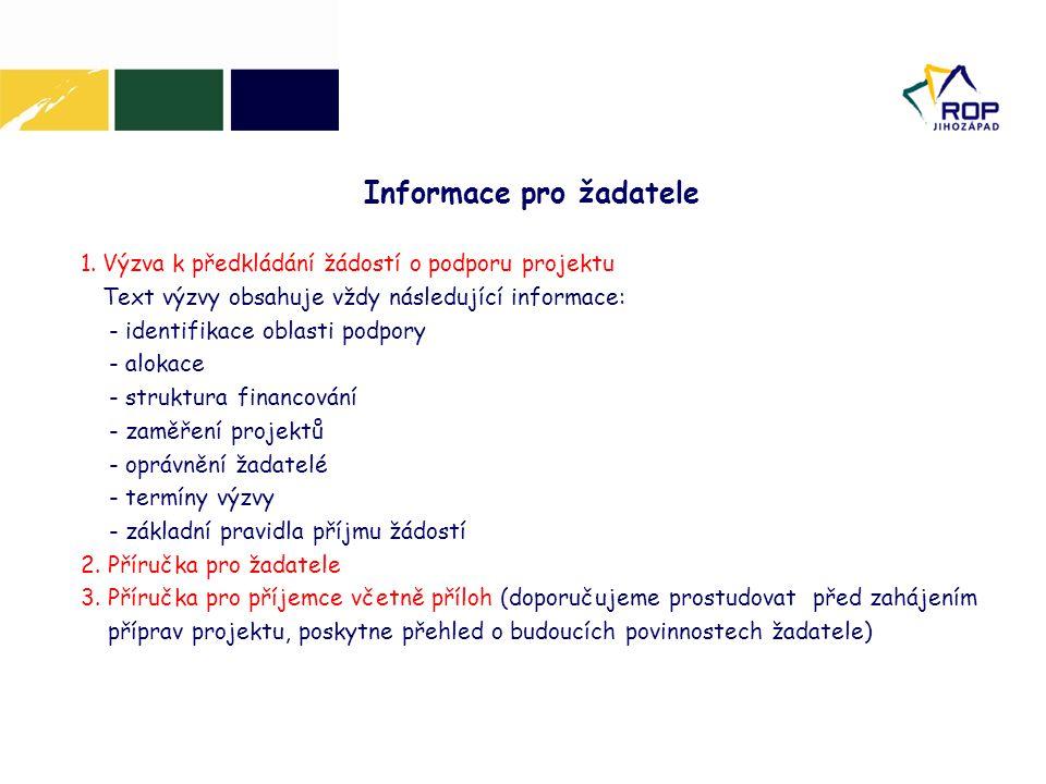 1.Výzva k předkládání žádostí o podporu projektu Text výzvy obsahuje vždy následující informace: - identifikace oblasti podpory - alokace - struktura