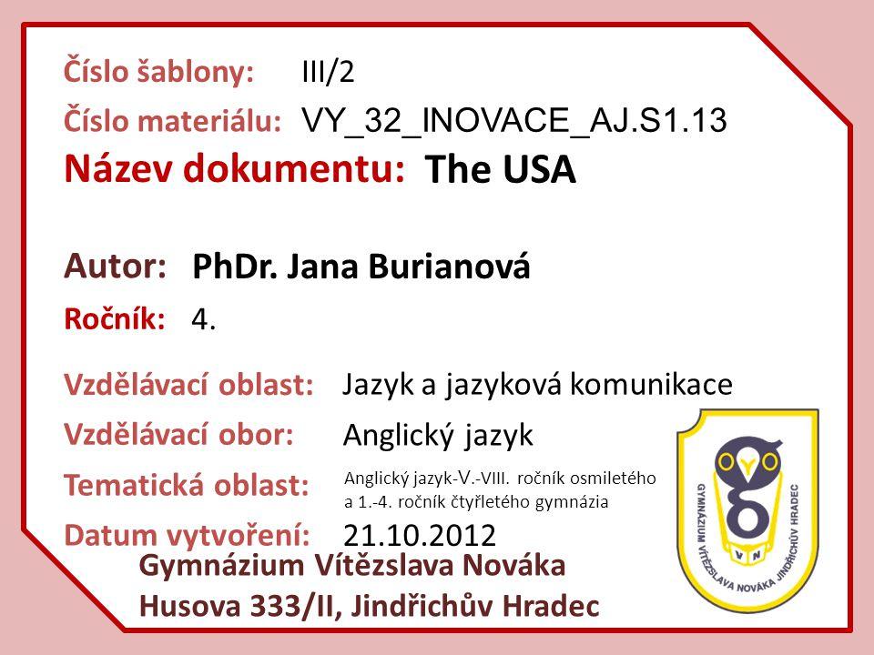 Název dokumentu: Ročník: Autor: Gymnázium Vítězslava Nováka Husova 333/II, Jindřichův Hradec Vzdělávací oblast: Vzdělávací obor: Číslo šablony: Číslo