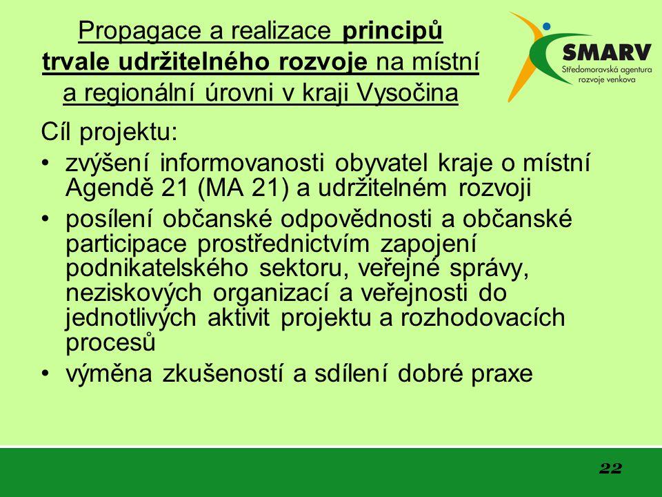 22 Propagace a realizace principů trvale udržitelného rozvoje na místní a regionální úrovni v kraji Vysočina Cíl projektu: zvýšení informovanosti obyvatel kraje o místní Agendě 21 (MA 21) a udržitelném rozvoji posílení občanské odpovědnosti a občanské participace prostřednictvím zapojení podnikatelského sektoru, veřejné správy, neziskových organizací a veřejnosti do jednotlivých aktivit projektu a rozhodovacích procesů výměna zkušeností a sdílení dobré praxe
