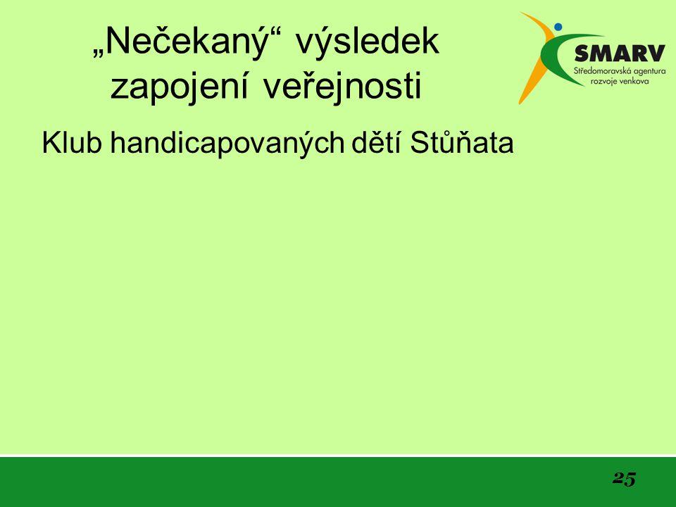 """25 """"Nečekaný výsledek zapojení veřejnosti Klub handicapovaných dětí Stůňata"""