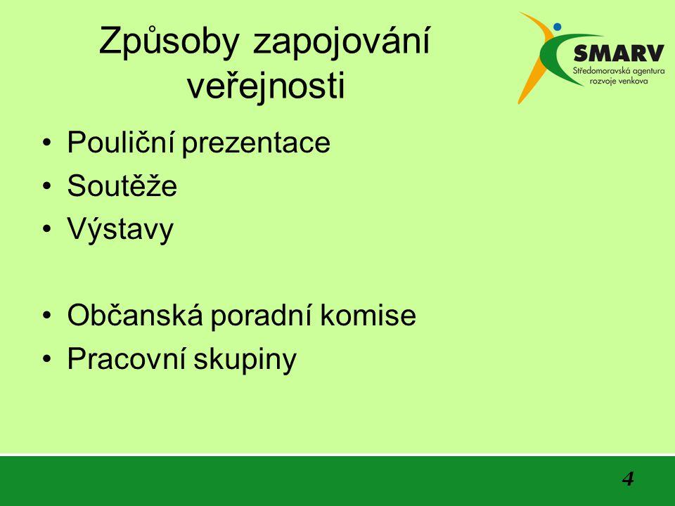 4 Způsoby zapojování veřejnosti Pouliční prezentace Soutěže Výstavy Občanská poradní komise Pracovní skupiny