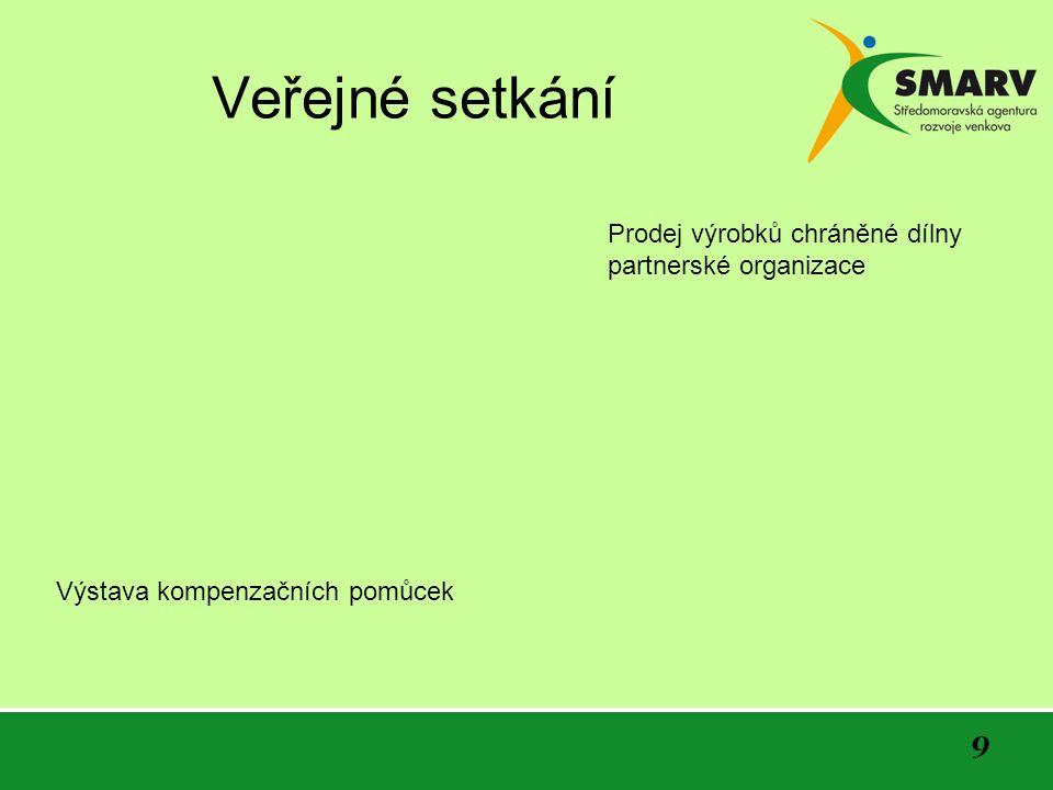 9 Veřejné setkání Výstava kompenzačních pomůcek Prodej výrobků chráněné dílny partnerské organizace