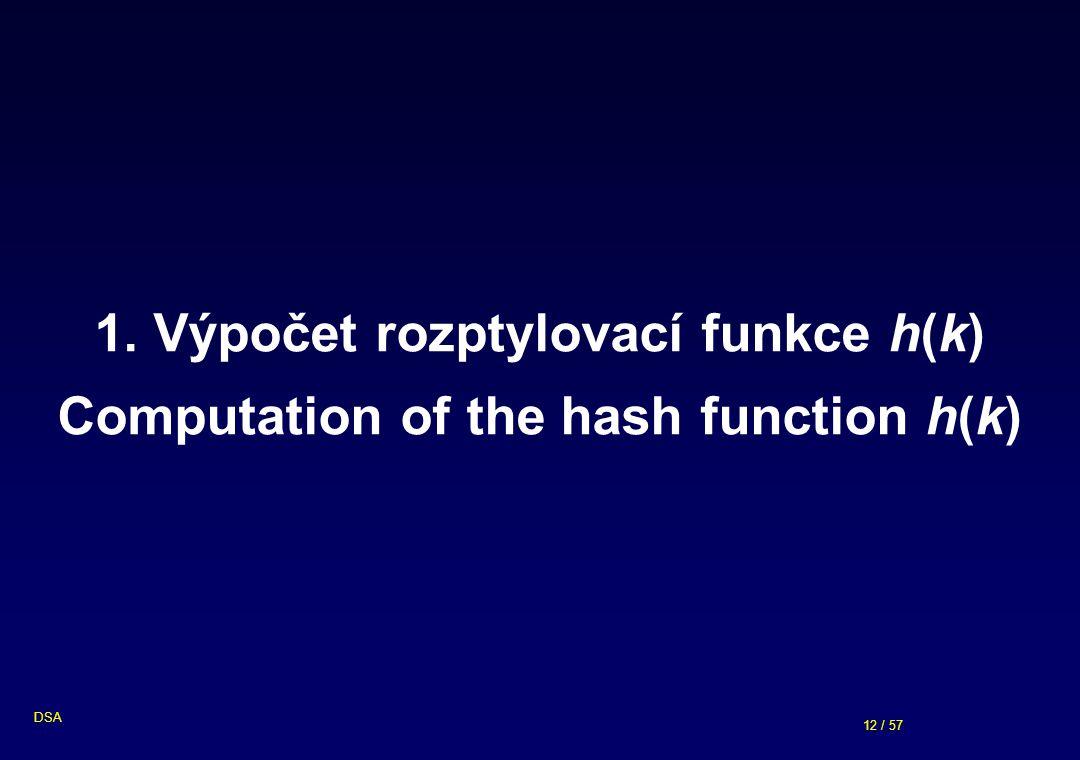 12 / 57 DSA 1. Výpočet rozptylovací funkce h(k) Computation of the hash function h(k)