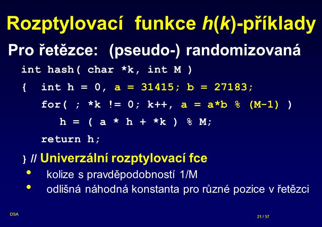 21 / 57 DSA Rozptylovací funkce h(k)-příklady Pro řetězce:(pseudo-) randomizovaná int hash( char *k, int M ) { int h = 0, a = 31415; b = 27183; for( ;