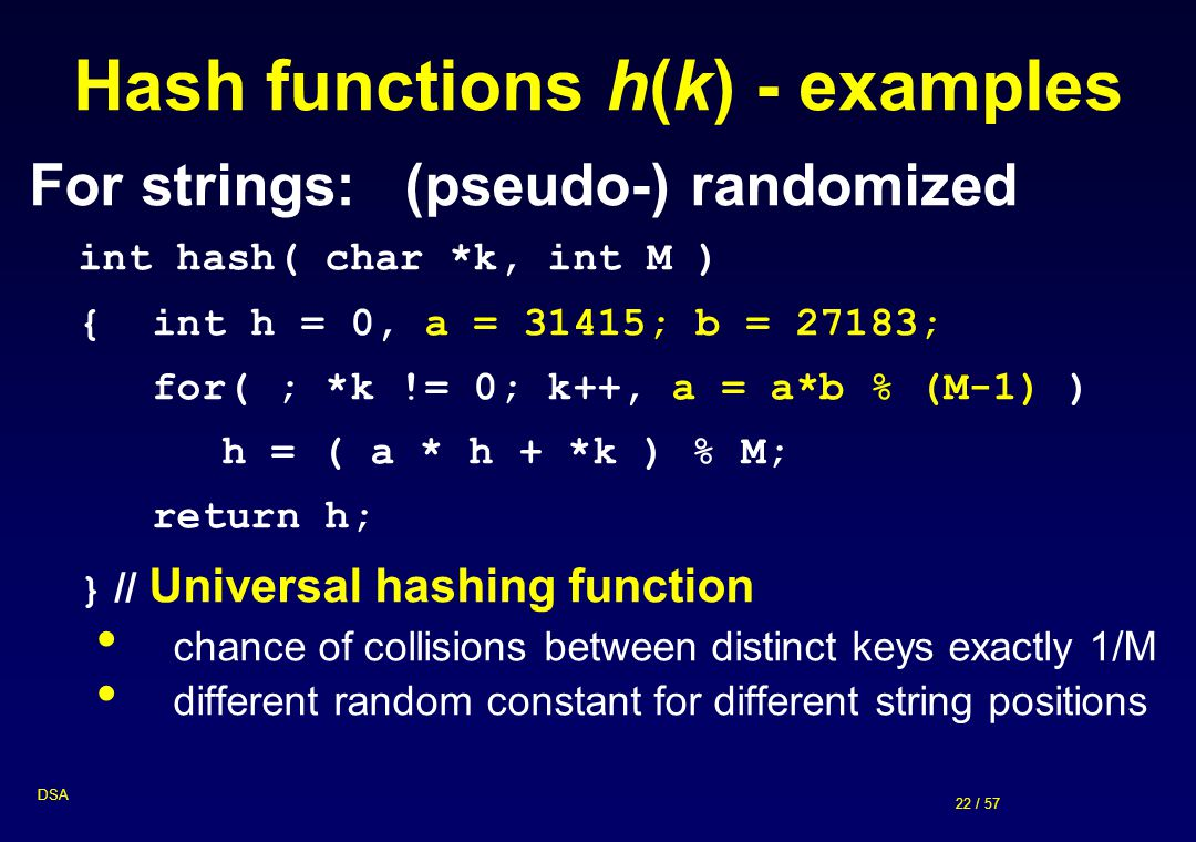 22 / 57 DSA Hash functions h(k) - examples For strings:(pseudo-) randomized int hash( char *k, int M ) { int h = 0, a = 31415; b = 27183; for( ; *k !=