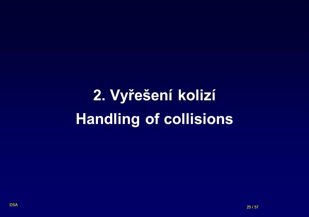 25 / 57 DSA 2. Vyřešení kolizí Handling of collisions