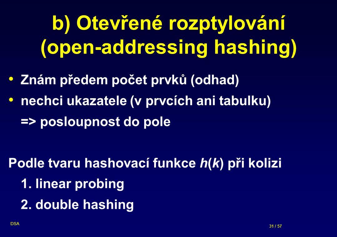 31 / 57 DSA b) Otevřené rozptylování (open-addressing hashing) Znám předem počet prvků (odhad) nechci ukazatele (v prvcích ani tabulku) => posloupnost