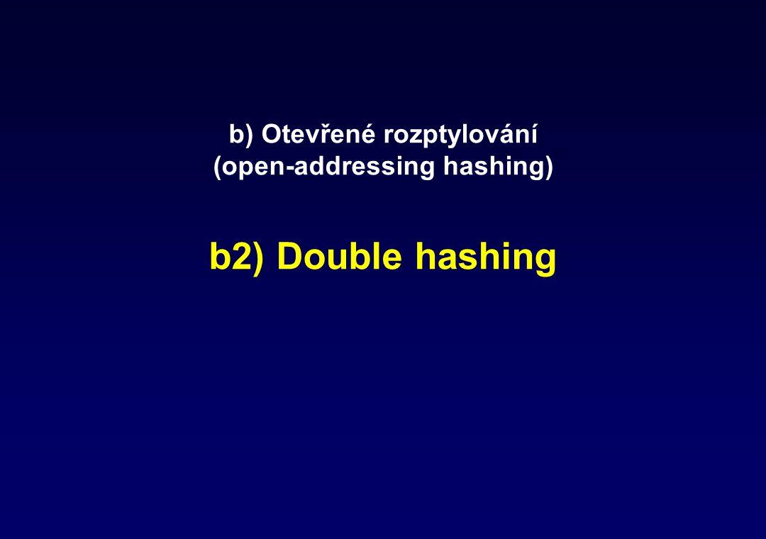 b) Otevřené rozptylování (open-addressing hashing) b2) Double hashing