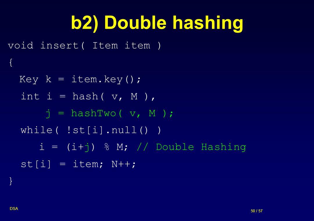 50 / 57 DSA b2) Double hashing void insert( Item item ) { Key k = item.key(); int i = hash( v, M ), j = hashTwo( v, M ); while( !st[i].null() ) i = (i