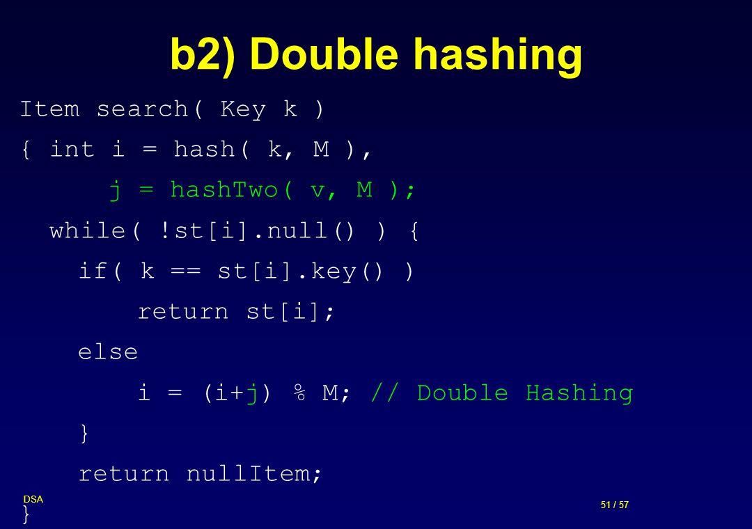 51 / 57 DSA b2) Double hashing Item search( Key k ) { int i = hash( k, M ), j = hashTwo( v, M ); while( !st[i].null() ) { if( k == st[i].key() ) retur