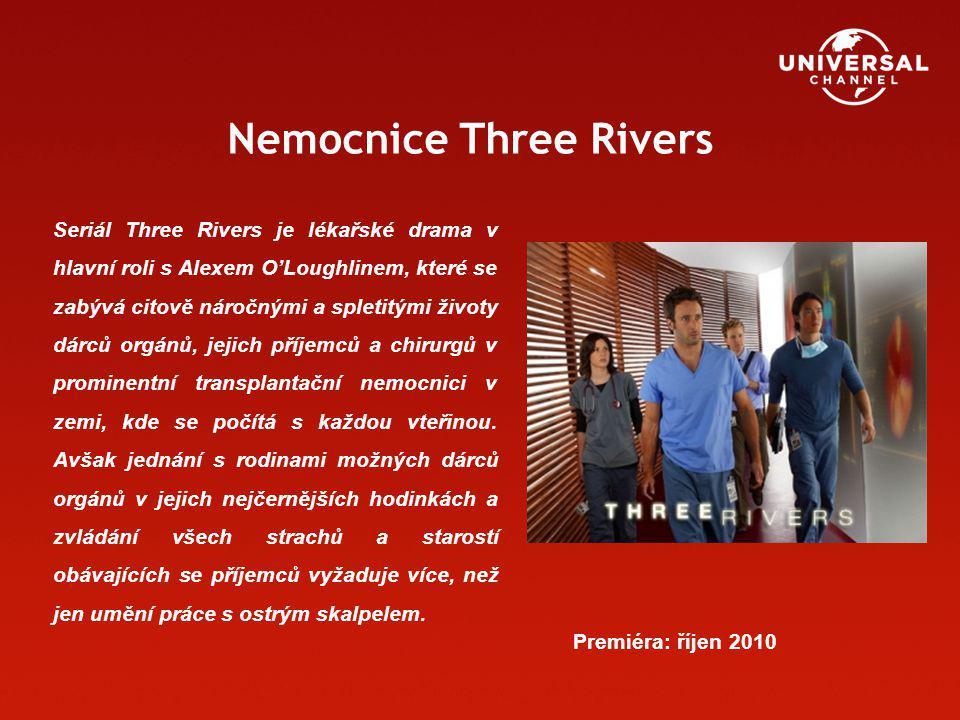 Nemocnice Three Rivers Seriál Three Rivers je lékařské drama v hlavní roli s Alexem O'Loughlinem, které se zabývá citově náročnými a spletitými životy dárců orgánů, jejich příjemců a chirurgů v prominentní transplantační nemocnici v zemi, kde se počítá s každou vteřinou.