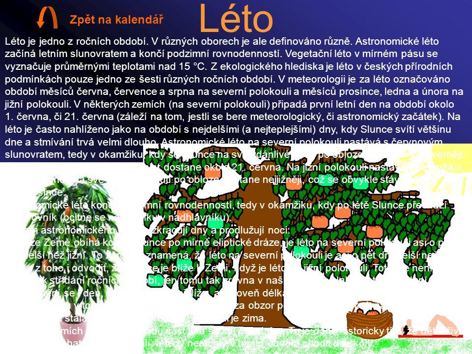 Léto Léto je jedno z ročních období. V různých oborech je ale definováno různě. Astronomické léto začíná letním slunovratem a končí podzimní rovnodenn